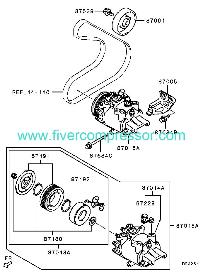 Ac Compressor Assy 7813a081 7813a079 Mitsubishi Colt Colt