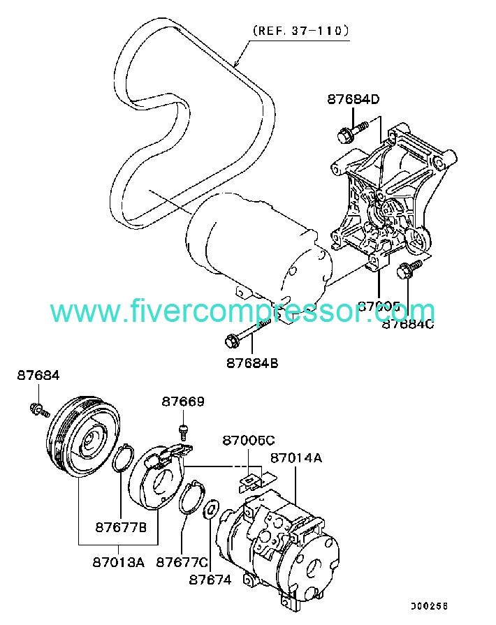 Ac Compressor Assy 7813a100 7813a004 Mr500318 Mitsubishi