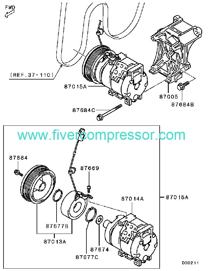 Ac Compressor Assy 7813a315 7813a060 Mitsubishi Grandis 02