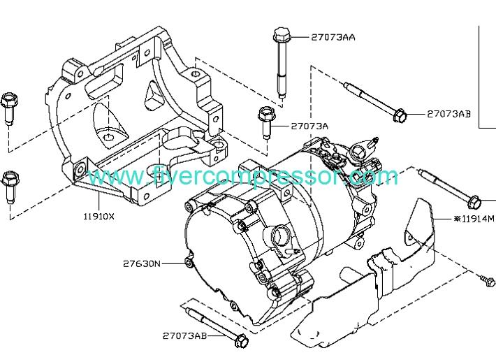 Kompressor 92600 1mg0a Nissan Leaf