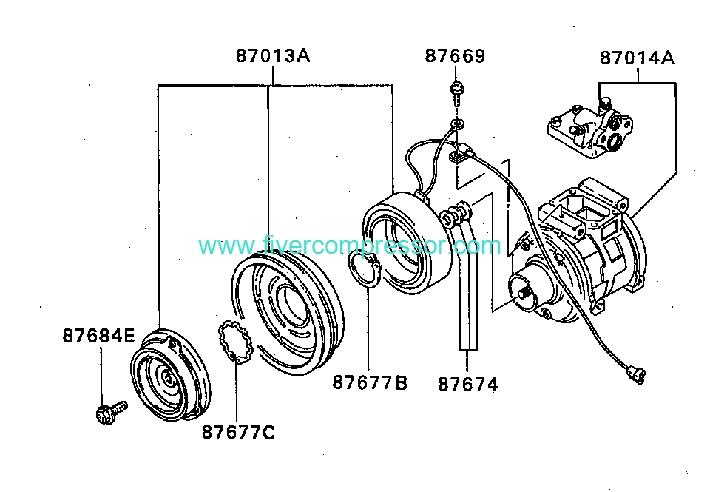 Ac Compressor Assy Mr149343 Mitsubishi Space Wagon 05 1991